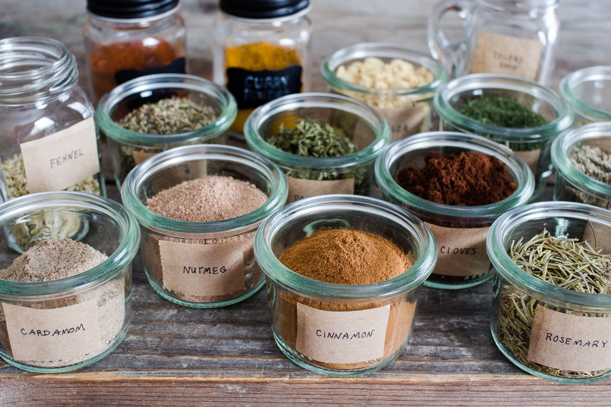 Spices labeled