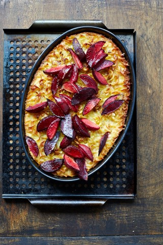 Sweet Lokshen Kugel with Plums credit Lauren Volo THE GEFILTE MANIFESTO Mobile
