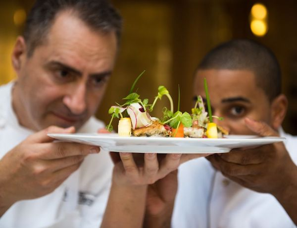 Waldorf Chef Itzik Barak and Chef JJ Taste of Waldorf Astoria CREDIT SARKA BABICKA