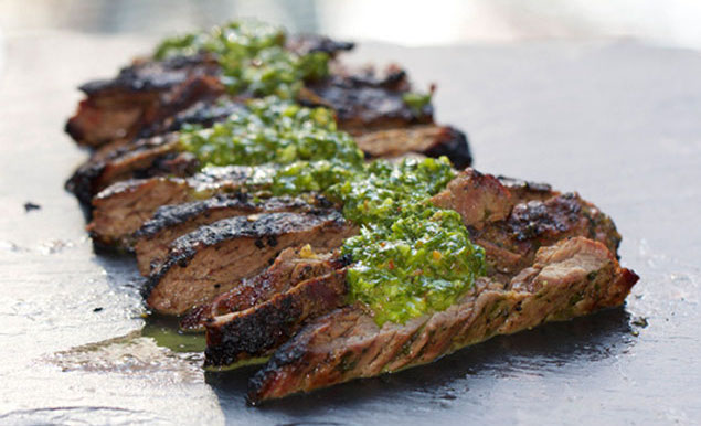chimichurri on skirt steak