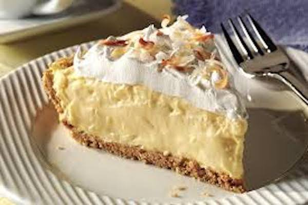 coconut no bake pie slice