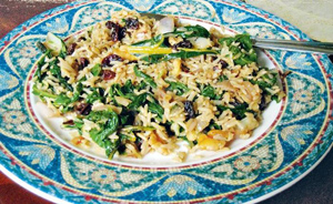 Silk_Road_Vegetarian_recipe_Swiss_Chard_Pilaf_300w